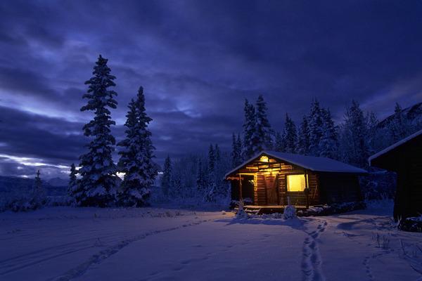 描写冬天夜晚的句子及图片