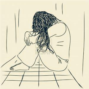 悲伤漫画图手绘